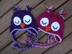 Sleepy Owl Crochet Hats