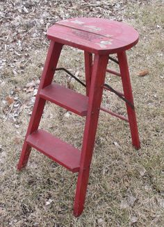 Red Wooden Step Stool Chair Ladder Kitchen by TheOldGrainery