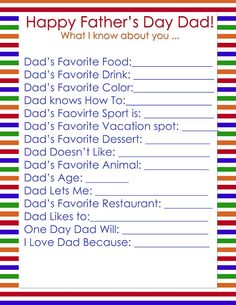 Test your knowledge of your favorite dad(s) by filling out this questionnaire.  Favorite Food? Favorite Color? Dad's Wish? Ralph S. Zotovich, DDS | #SanJose | #CA | www.dds4kids.com