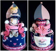 Girl's Nautical Themed Diaper Cake www.facebook.com/DiaperCakesbyDiana