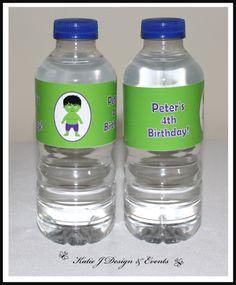 Water Bottle Labels #Hulk #Super #Hero #Heroes #Superhero #Personalised #Birthday #Bunting #Party #Ideas #Decorations #Ideas #Banners #Cupcakes #WallDisplay #PopTop #JuiceLabels #PartyBags #Invites #KatieJDesignAndEvents #Personalised #Creative