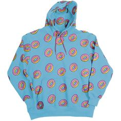 All Over Donut Blue Hoodie ($80) ❤ liked on Polyvore featuring tops, hoodies, shirts, sweaters, blue shirt, hoodie top, hooded pullover, hoodie shirt and sweatshirt hoodies