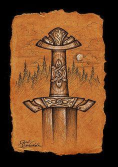 OldSpruce Song's Sword by Cedarlore Forge, via Flickr Sword Tattoo, Viking Sword, Norse Pagan, Sword Design, Japanese Sword, Fantasy Weapons, Medieval Fantasy, Sword Art, Artwork Design
