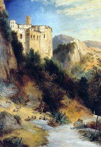 COMMUNITY ARTISTICA CULTURALE Google+Allegato:  SUBIACO SCORCI D'ARTE E VALLE DELL'ANIENE, CARL BLECHEN Pittore Tedesco Foto-Dipinto:  Il monastero di Santa Scolastica (1830)