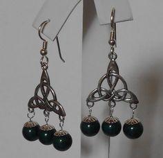 Green Dolomite Tri Celtic Knot Sterling Silver Earrings, $36 Sold via Etsy 8/7/2012