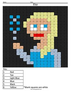 Elsa from Frozen Disney Princess- Multiplication and Division coloring page