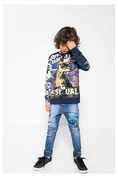 Sudadera azul Desigual con estampado Jürgen #circulogpr #desigual #fashion #modainfantil