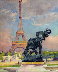 The Eiffel Tower And The Elephant By Fremiet Painting by Jules Ernest Renoux - The Eiffel Tower And The Elephant By Fremiet Fine Art Prints and Posters for Sale