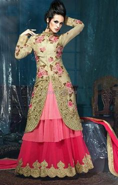Your social reputation is tied up with your stair and this chaniya choli dress with jacket style top and floral embroidery can enhance your style to increase your social repo in grand manner.  Set up your marriage trend as per our suggestion and book this #long_blouse and skirt now to be in your best ever bridal avatar which you cannot achieve by any other boutique in 2016. #Chaniyacholidress with #jacket_style top and #floral_emrboidery