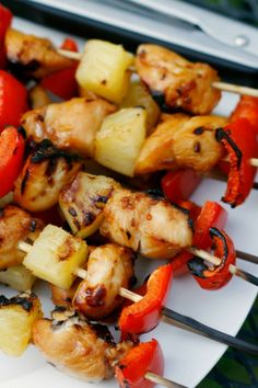 Try these grilled kabobs with teriyaki chicken, pineapple and red peppers!