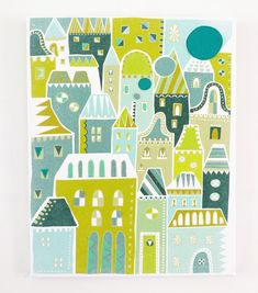 Houses in green  City Print Canvas Textile Art Print by lauraamiss, €70.00