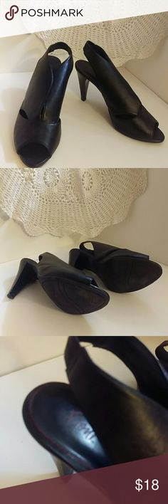 Fiona black open toe heals size 9.5w Strikingly styled fioni heels are in excellent condition. Vegan materials. Worn very few times. fioni Shoes Heels