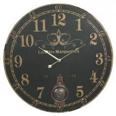 Amazon.com - Cafe Des Marguerites French Parisian Extra Large Vintage Wall Clock (Black Face) - 23-in