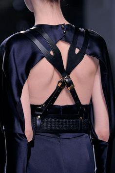 Leather Harness Dress - beautiful contrasts; elegant & edgy fashion design details // Prabal Gurung