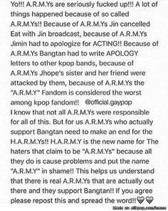 I'm disgusted with those kind of '' A.R.M.Ys '' come on guys..