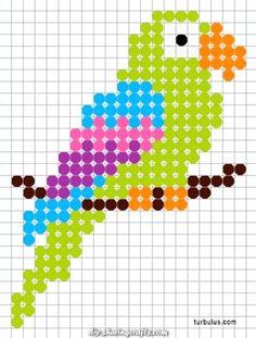 Parrot en perler beads à repasser Tiny Cross Stitch, Cross Stitch Bookmarks, Cross Stitch Cards, Cross Stitch Animals, Cross Stitch Designs, Cross Stitching, Cross Stitch Embroidery, Cross Stitch Patterns, Hand Embroidery