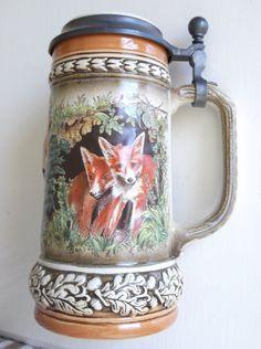 Fox and cubs German beer stein.