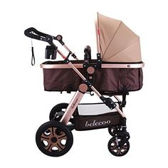 VEVOR Luxury Newborn Stroller Baby Foldable Anti-Shock Pushchair Pram High View Carriage Infant Stroller for Travel Systems Carriage Toddler (Golden) - $399.99