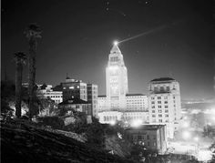 1940's? view from Bunker Hill. The Lindbergh Beacon is set to turn on again for good this February in DTLA!