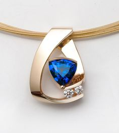 14k yellow gold necklace Chatham blue by VerbenaPlaceJewelry