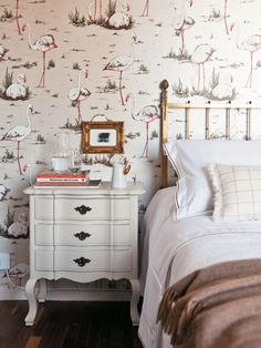 dear mom,   flamingo wallpaper! tasteful and pretty, even.  love,  katie