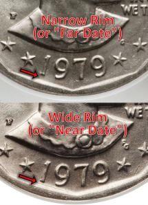 1979-P Susan B. Anthony Narrow Rim (Far Date) vs. Wide Rim (Near Date) Variety - Photo © 2013 James Bucki, All rights reserved