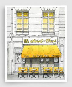cute illustration - would look great in a black frame with white mat. Le Saint Paul Paris illustration Art Illustration Print от tubidu