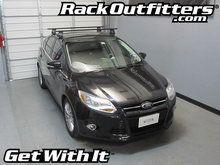 Ford Focus Hatchback Thule Rapid Traverse BLACK AeroBlade Roof Rack '12-'14*