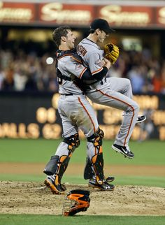 Posey and Lincecum after Timmy completed his no-no on 07/13/13 at Petco Park, beating the Padres 9-0, 13 Ks
