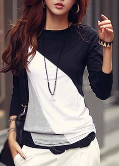 Spliced Color Block Classic White And Black Long Sleeve Round Neck T Shirt, fashion, casual, simple design, cheap price and high quality, check it now at rosewe.com.