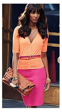 Loving the bright pink skirt paired with the sorbet orange sweater...the belts accent the outfit perfectly & the clutch is the perfect neutral shade. Her  hair is fab too! #inspiration