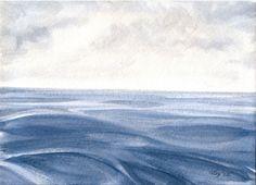 "Original Watercolor Seascape, Ocean Waves Watercolor, Blue Grey Seascape Art, Blue Gray Nautical Home Decor, Original Watercolor 5"" X 7"""
