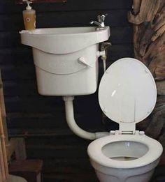 Bathroom Decor grey toilet uses basin wa Join Our - bathroomdecor Tiny Bathrooms, Tiny House Bathroom, Rustic Bathrooms, Bathroom Toilets, Small Bathroom, Bathroom Ideas, Bathroom Vanity Tops, Ikea Bathroom, Bathroom Furniture