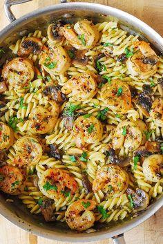 Pesto Shrimp Mushroom Pasta                                                                                                                                                      More