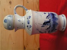 ANTIQUE,PORCELAIN CORKED, PITCHER/HANDLE ALL HAND CRAFTED/PAINTED IN HOLLAND BY DEIFTS BLAUW