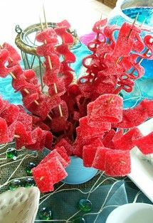 Sweet Seaweed Kabobs. Perfect for any mermaid party! #finfun #mermaids #mermaidtail #party www.finfunmermaid.com Little Mermaid Birthday Cake, Little Mermaid Food, Mermaid Birthday Party Ideas, Little Mermaid Wedding, Mermaid Kids, Little Mermaid Parties, Luau Party, Little Mermaid Decorations, Unicorn Party