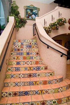 Spanish tile for the stairway to the mirador. Handmade tiles can be colour coordinated and customized re. shape, texture, pattern, etc. by ceramic design studios--I want this on my staircase with hardwood. Tiled Staircase, Tile Stairs, Staircase Decals, Spanish Style Homes, Spanish House, Spanish Garden, Spanish Tile, Spanish Colonial, Diy Inspiration