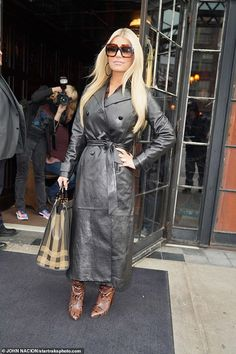 Jessica Simpson announces return to music with SIX new songs after a decade hiatus from the charts Leder Outfits, Leather Jacket Outfits, Long Leather Coat, Womens Leather Coats, Fall Outfits, Fashion Outfits, Womens Fashion, Celebrity Boots, Rain Wear