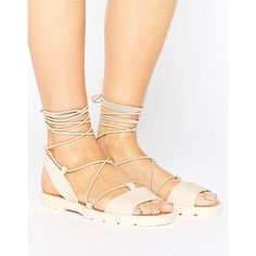 ASOS FLUTTER Tie Leg Jelly Sandals (203.050 IDR) ❤ liked on Polyvore featuring shoes, sandals, beige, jelly sandals, tie sandals, asos sandals, ruffle sandals and lace up shoes