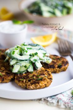 Turkey Kibeh with Cucumber Salad & Mint Yogurt Sauce – A Mediterranean meal that is quick, easy and packs a flavor punch! It's a high protein, healthy meal to please the whole family! | Foodfaithfitness.com | @FoodFaithFit