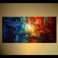 "Abstract Painting, Original Contemporary Painting on Canvas by Osnat - MADE-TO-ORDER - 48""x24"""