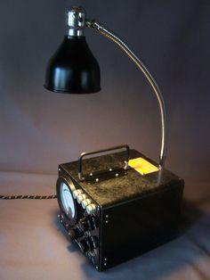 Vintage Repurposed Table Lamp Decorative Lighting Steampunk Navy Meter Industrial