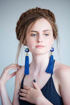 Bohemian Earrings, Royal Blue Statement Earrings, Wood Bead Earrings, Long Tassel Earring, Fringe Earrings