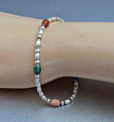 Sterling Bead Bracelet Chain Strung Art Glass by LynnHislopJewels