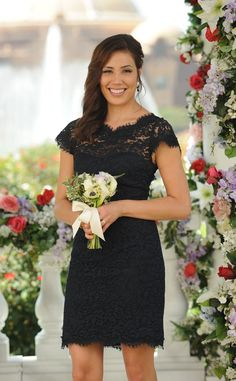 "Perfect bridesmaids dress, they would even be able to wear this after the wedding! Michaela Conlin from the TV Show Bones in the episode ""Woman in White (wedding)"""