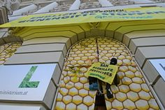 A Greenpeace climber wearing a bee costume hangs in a honeycomb made of fabric in the front of the entrance of the Austrian ministry of Ecology and Agriculture. With this action, Greenpeace is demanding that the Austrian minister Nikolaus Berlakovich uses his influence on Austrian and EU policies to ban pesticides that kill bees.  Photographer: Greenpeace / Georg Mayer