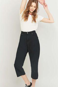 Cheap Monday Omega Black Cropped Wide-Leg Jeans