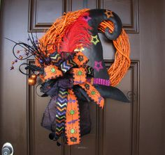 Witch Hat Halloween Wreath, Orange Painted Grapevine Wreath with Glitter Chevron Bow,  Not So Spooky Halloween Wreath, Handmade Wreath