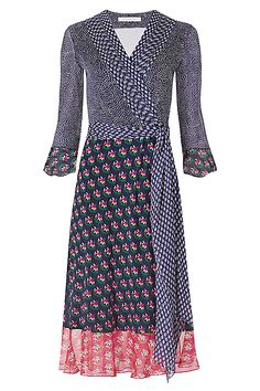 DVF Nieves Silk and Chiffon Combo Wrap Dress in in Dream Dots/ Zen Flora Midnight