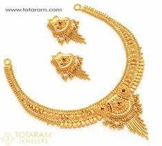 22 Karat Gold Necklace - Drop Earrings Set <br> <br /> Contains Necklace & Drop Earrings. Gold Bangles, Gold Jewelry, Bridal Jewelry, Swarovski Jewelry, India Jewelry, Chain Jewelry, Bridesmaid Jewelry, Silver Bracelets, Gold Rings